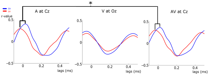 the cross correlation analysis between the stimulus and the responses
