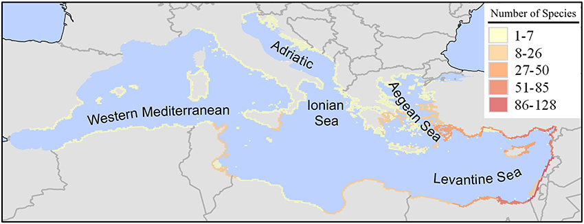 Frontiers | Invading the Mediterranean Sea: biodiversity patterns ...