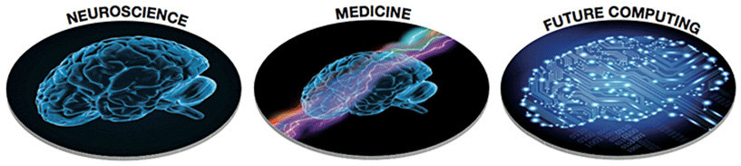 Figure 2 - The three main goals of the Human Brain Project (HBP).