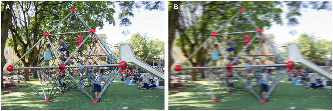 Figure 4 - These images show the view a person may have when walking (A) or being driven by a park (B). Based on research from our laboratory, we know that children simulate this experience and imagine passing by a park faster when a character is being driven compared to walking.