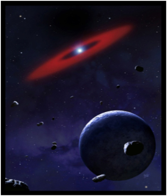 איור 3 - המחשה אומנותית של חלק ממערכת כוכבי לכת שחגה סביב לננס לבן (הנקודה הלבנה שבמרכז הטבעת האדומה).