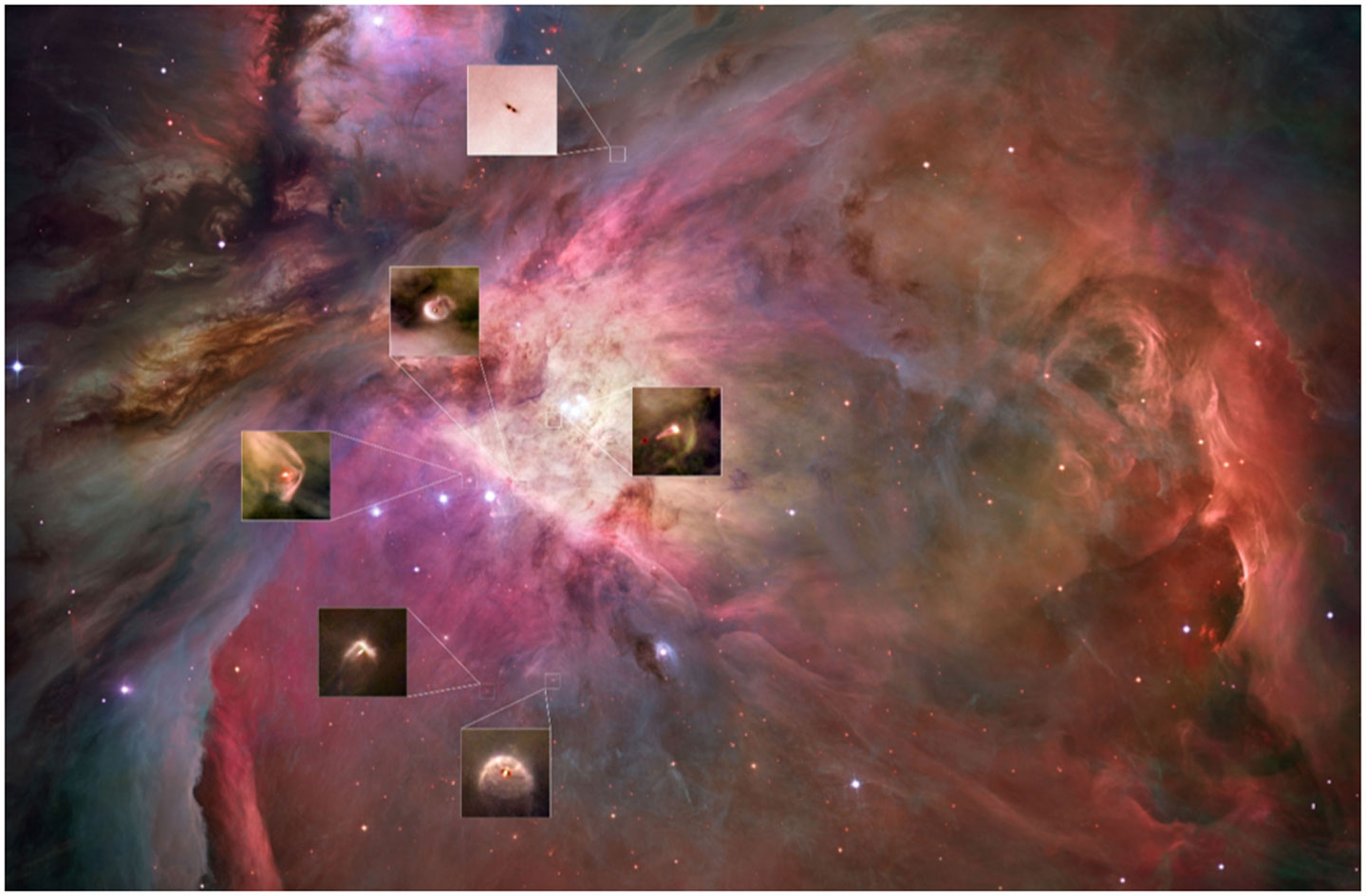 איור 4 - מערכות כוכבי לכת הנוצרות כעת בערפילית אוריון זוהי תמונה של הערפילית אוריון, שצולמה באור נראה לעין והופקה על ידי טלסקופ החלל האבּל.