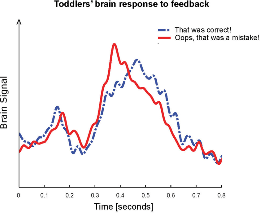 Figure 3 - Illustration of our results: the toddlers' brain signals measured over areas known for feedback processing.