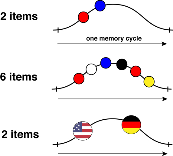 Figure 2 - Chunking information in one WM cycle: let us say you have to remember a set of different colors in the right order.
