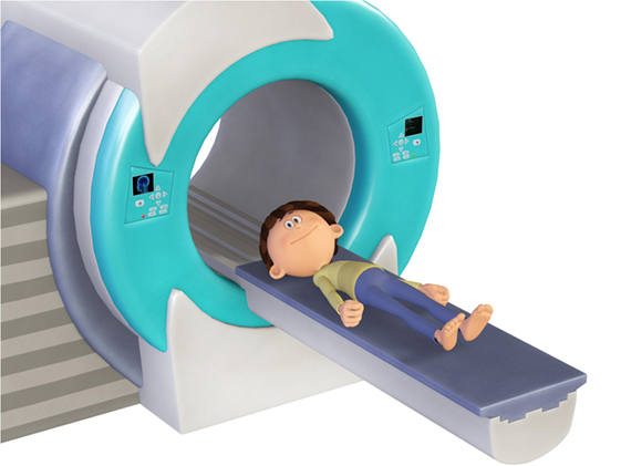Figure 2 - Study participants slide into the magnetic resonance imaging (MRI) machine.
