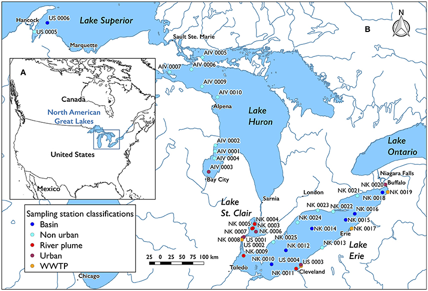 Frontiers Distribution And Modeled Transport Of Plastic Pollution - Great-lakes-on-the-us-map