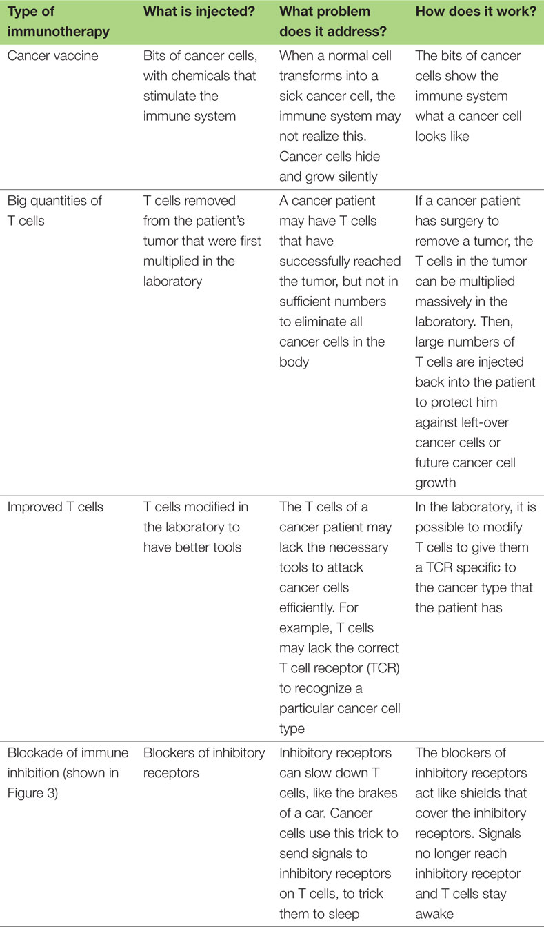 Table 1 - Examples of immunotherapy: what they are and how they work.