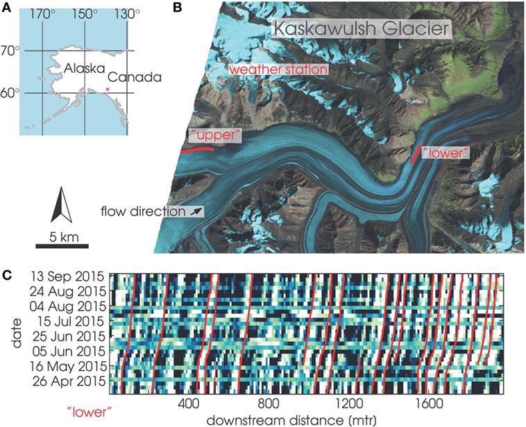 איור 5 - A. מפה המראה את מיקומו של קרחון קאסקאווּלש שבקנדה, ליד גבול אלסקה.