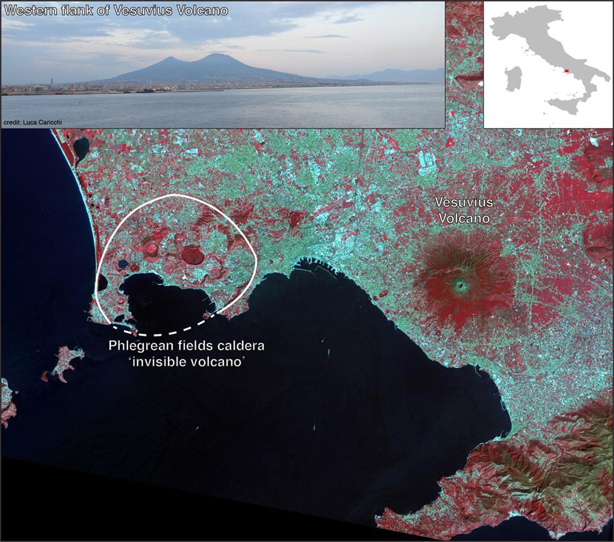 شكل 1 - صورة بالقمر الصناعي لمنطقة نابولي (إيطاليا).