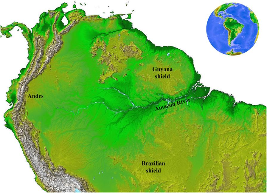 איור 1 - צפון דרום-אמריקה, כפי שמֻפָּה על-ידי משימת המיפוי הטופוגרפי של נאס