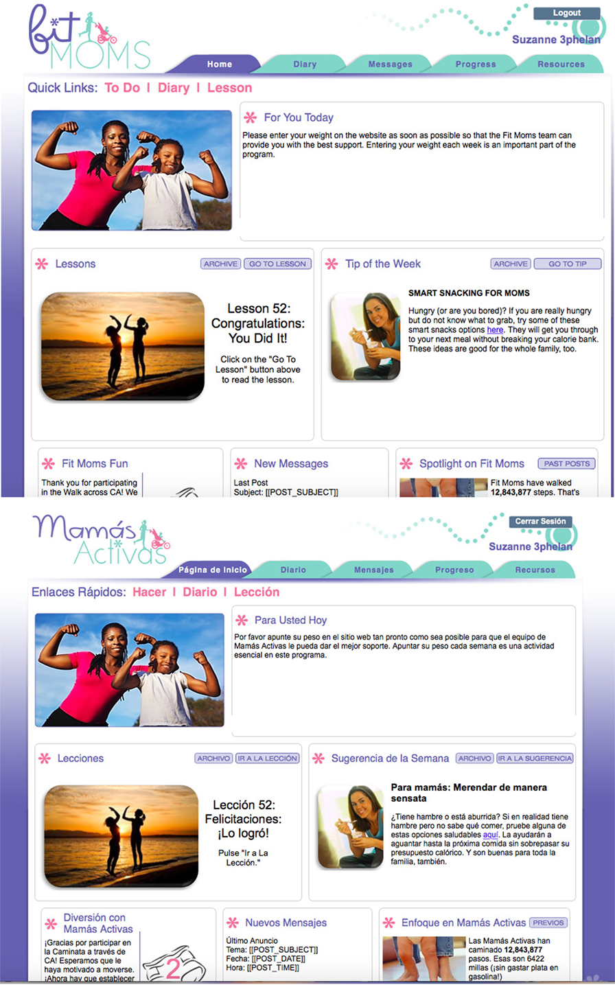 Figure 2 - Fit Moms/Mamas Activas webpages were available in Spanish and English.