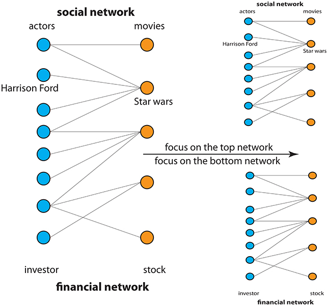 Figure 2 - Shown are two examples for the application of networks representing a social network and financial network.