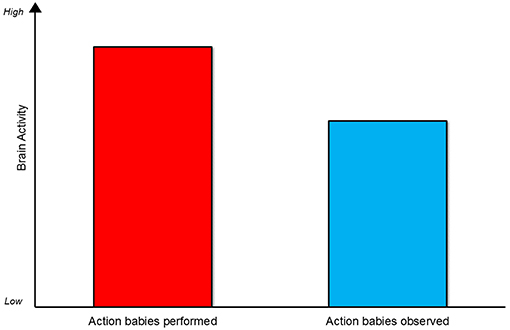 Figure 3 - In this graph, you can see that brain activity changed the most for the action babies had done before (the red bar) compared with the action that they had only seen before (the blue bar).