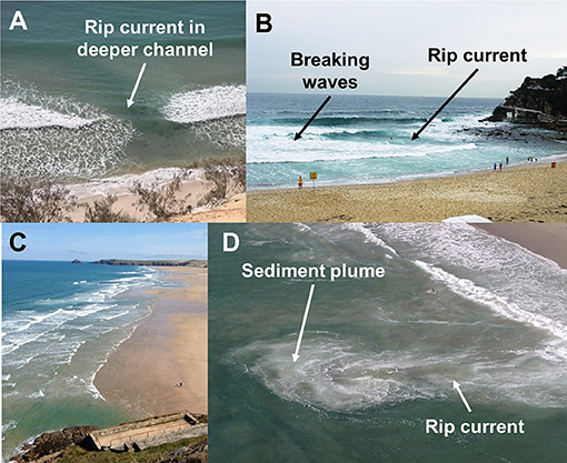 Figure 3 - Some examples of rip currents showing different visual clues on how to spot them.
