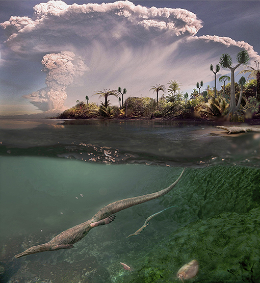 Figure 4 - Reconstruction of mesosaurs in their harsh environment 280 million years ago, showing closely placed volcanoes spreading ashes over the salt-water lake where they lived.
