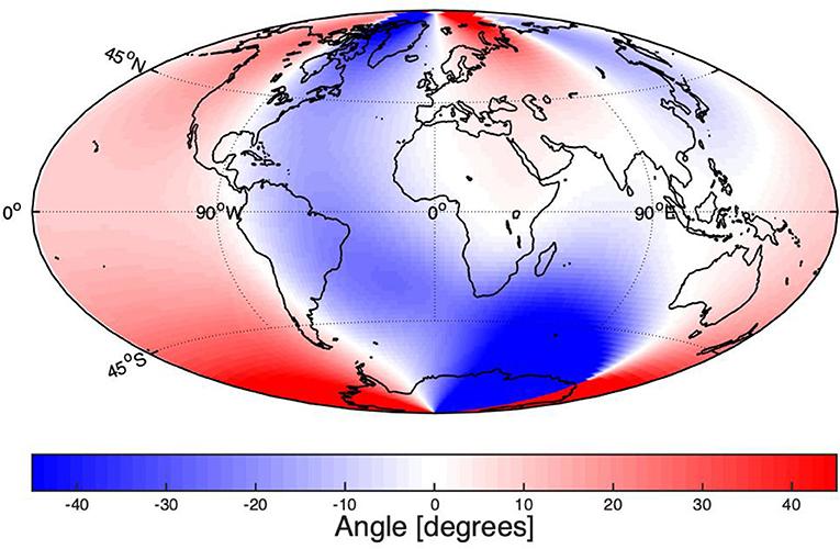 איור 3 - הנטייה המגנטית בשנת 2019 (במעלות), כפי שהתקבלה ממודל ה-International Geomagnetic Reference Field (IGRF-12).
