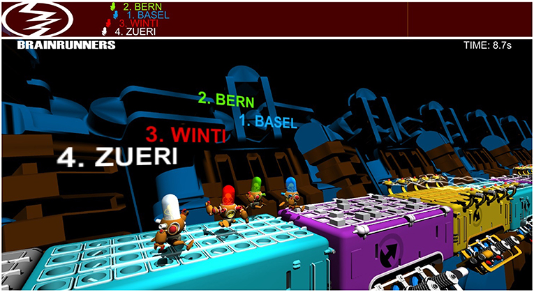 Figure 1 - A screenshot of the BrainRunners game, which allows four people to race robotic avatars on parallel tracks.