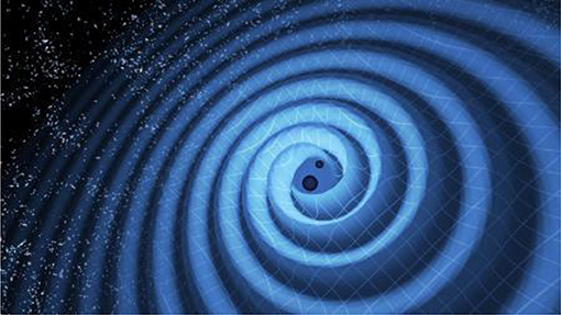 Figure 3 - Two black holes that orbit each other will make ripples in space, called gravitational waves.
