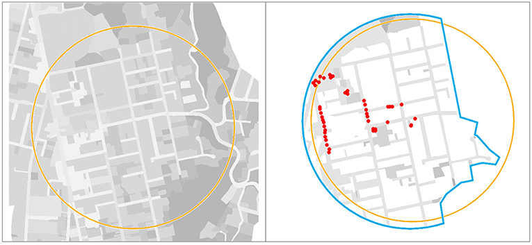 Figure 1 - Left: One child's neighborhood range is shown as a 500-m radius circle around his home.