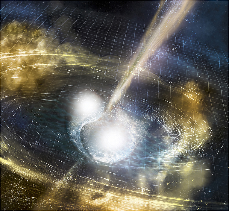 Figure 1 - Artist's illustration of the collision of two neutron stars, shown after they have collided in the center of the picture.