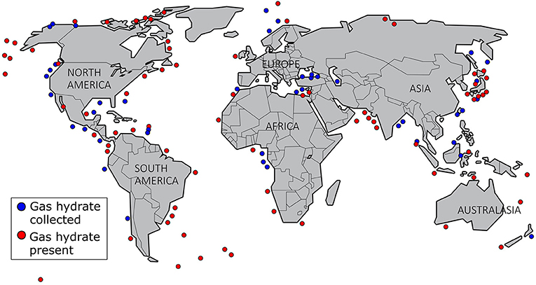 Figure 2 - Locations where we have identified gas hydrates using seismic or well data (red circles), and where we have collected gas hydrates from samples (blue circles) [1, 3].