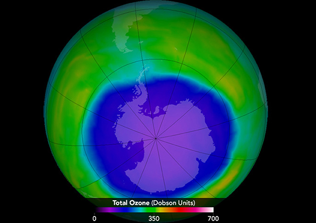 Figure 3 - An example of the ozone hole in 2015 [4].