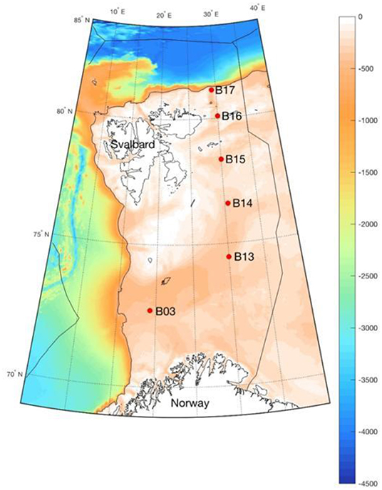 Figure 1 - Sampling sites of the Changing Arctic Ocean Seabed project in the Arctic Barents Sea.