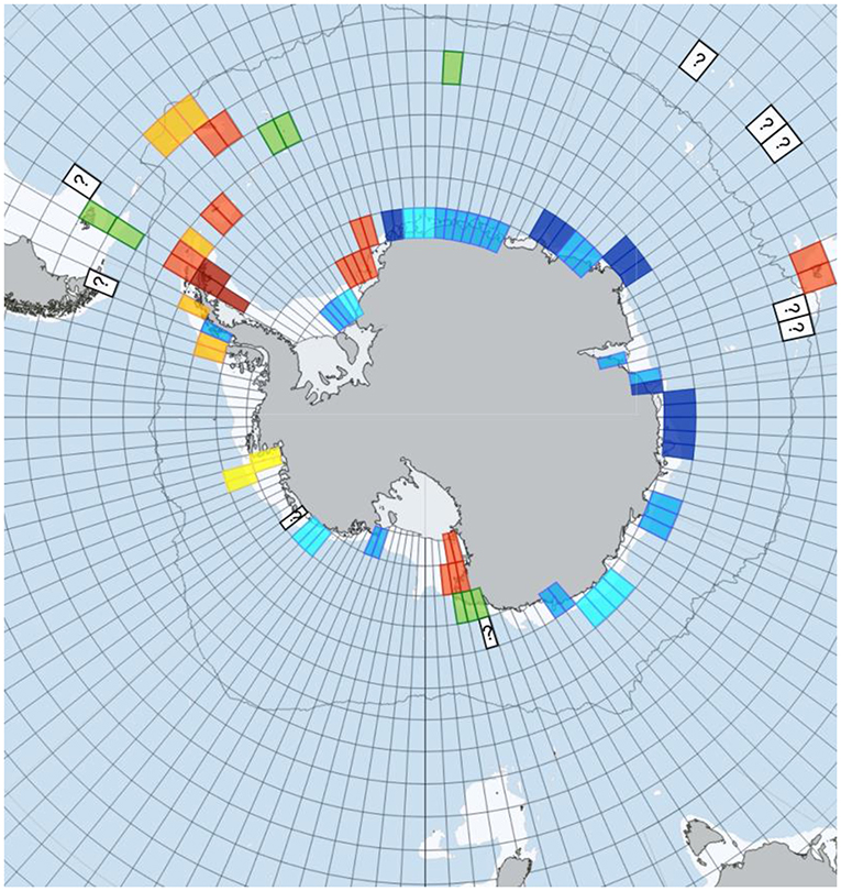 Figure 3 - Blue carbon change around Antarctica from 1995 to 2015.