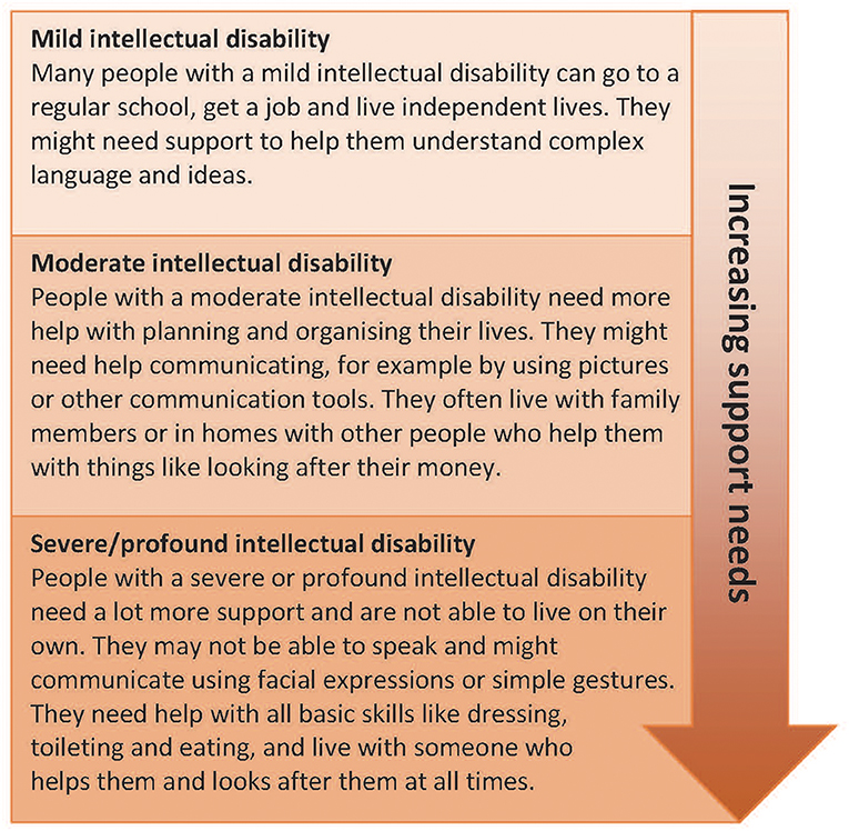 Figure 1 - Levels of intellectual disability and support needs at the different levels.