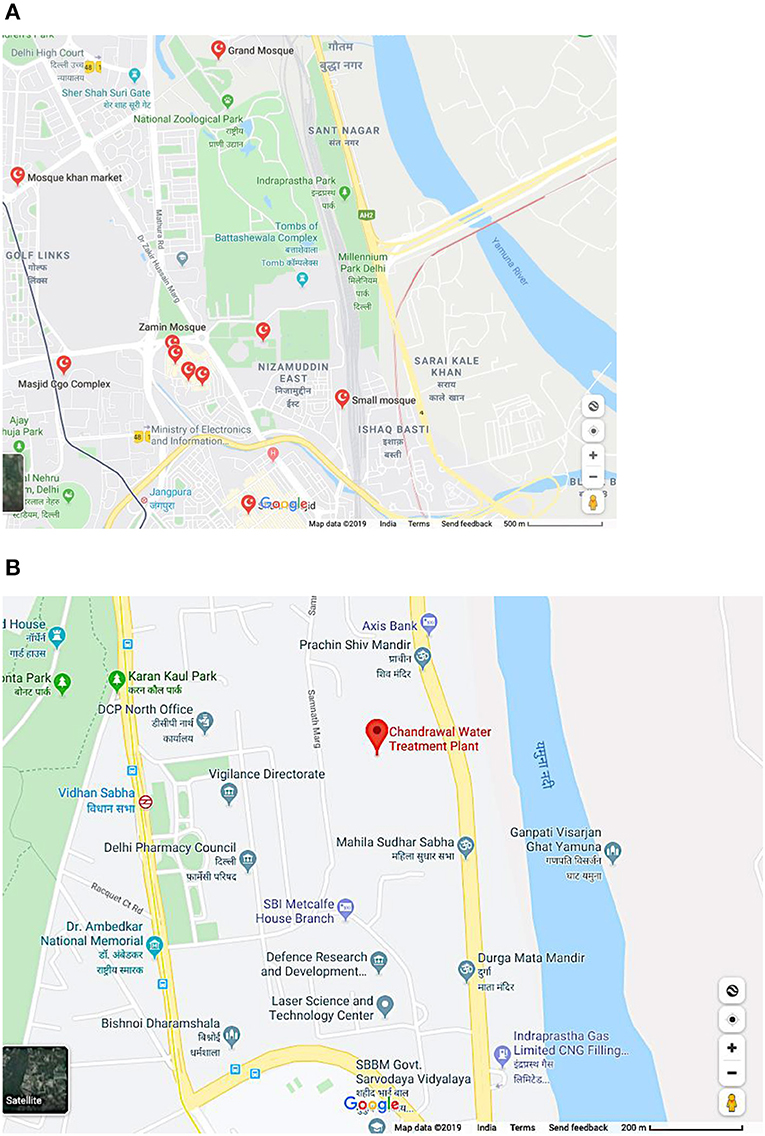 Figure 2 - Schematic depiction of the major difference between the spatial proximity of mosques (depicted in red, with Islamic symbol) to (A) a sampling unit, the National Zoological Park, and (B) a random location chosen by the computer in Delhi.