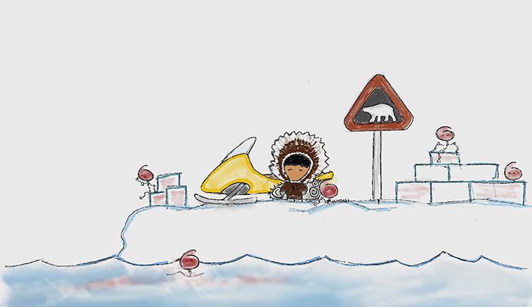 شكل 3 - إسترات الفوسفات العضوي في المنطقة القطبية الشمالية عالقة في الماء والجليد والهواء.