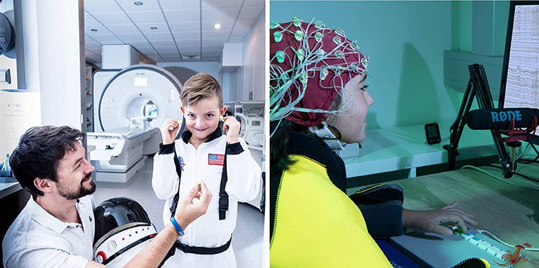 Figure 2 - Children taking part in one of our functional Magnetic Resonance Imaging (fMRI, left) and Electroencephalography (EEG, right) studies.