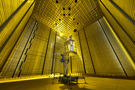 Figure 2 - A scientist stands inside the ProtoDUNE detector at Europe's CERN laboratory before it was filled with cold (–186°C!) pure liquid argon.
