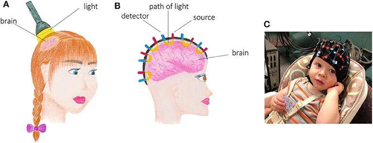 Figure 1 - (A) fNIRS uses light to look at brain function.