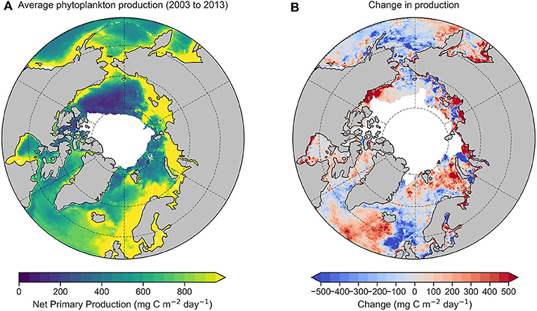 Figure 1 - Satellite measurements of phytoplankton production in the Arctic Ocean.