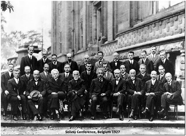 Figure 2 - Attendees of the 1927 Solvay Conference in Belgium, a prestigious meeting of scientists that included Albert Einstein, Erwin Schrodinger, and Marie Curie (front row, second from left).