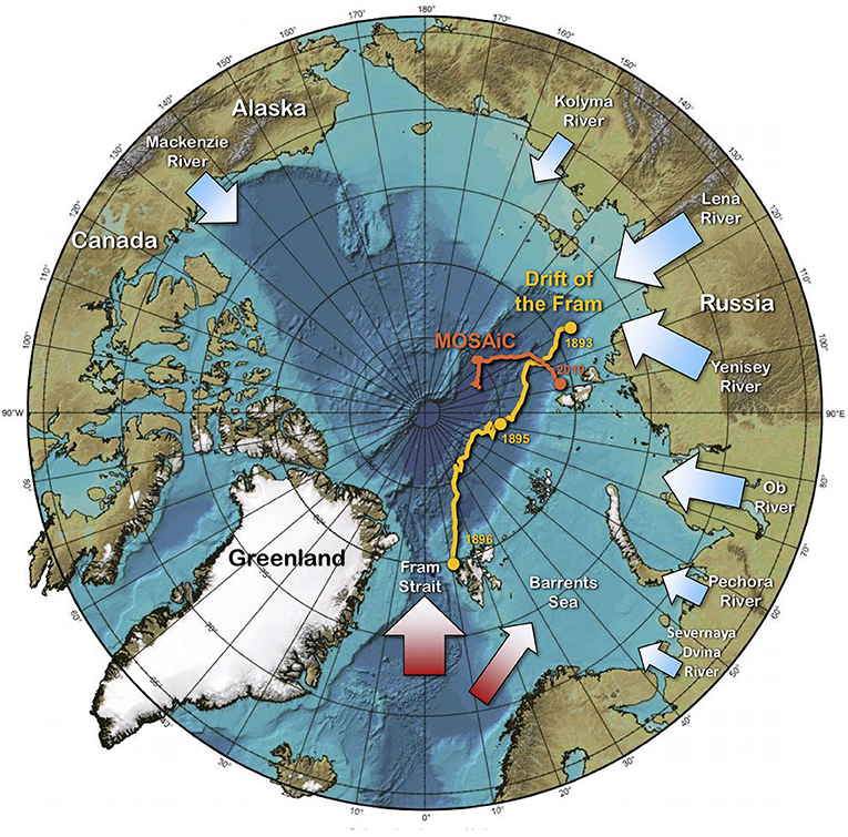 Figure 1 - Map of the Arctic Ocean showing the drift of the Nansen's ship Fram during his expedition traced in yellow.