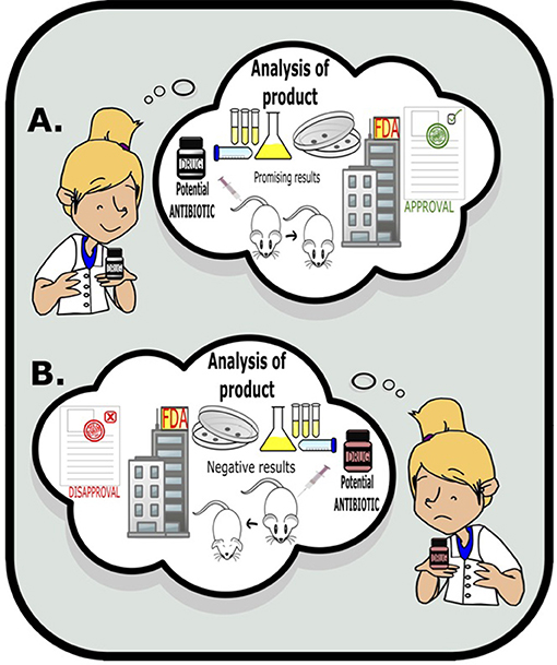 Figure 2 - Scientists use various tests to study potential antibiotic efficacy and activity, such as laboratory tests and animal models.