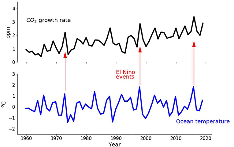 Figure 3 - The CO2 growth rate, which is the amount that CO2 in the air increases every year, is shown with a black line.