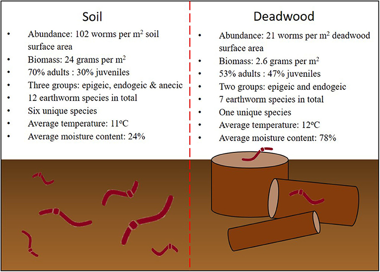 Figure 3 - Summary of the results from the earthworm surveys of soil and deadwood in oak forests.