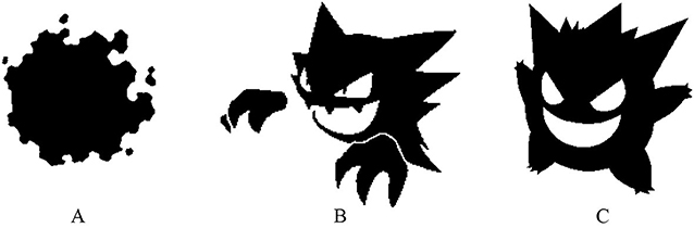 Figure 1 - Pokémon have different shapes, as we can see with (A) Gastly, (B) Haunter, and (C) Gengar.