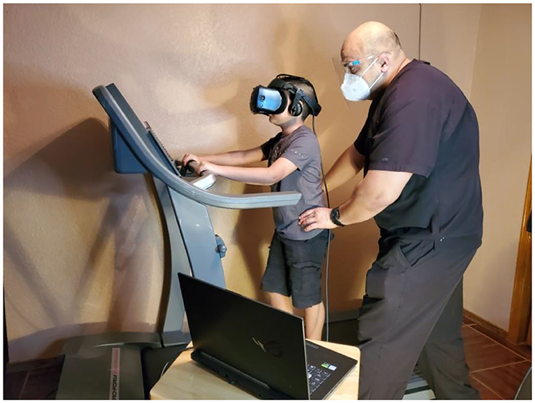 Figure 1 - A virtual reality set up used for walking practice.