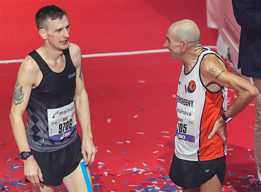Figure 2 - Father and son after crossing the finish line of the marathon.