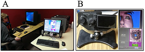 Figure 1 - (A) A research participant sitting in front of the eye-tracker.