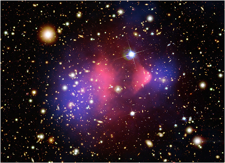 Figure 2 - An image of the Bullet Cluster produced by NASA's Hubble Space Telescope and the Chandra X-ray Observatory.