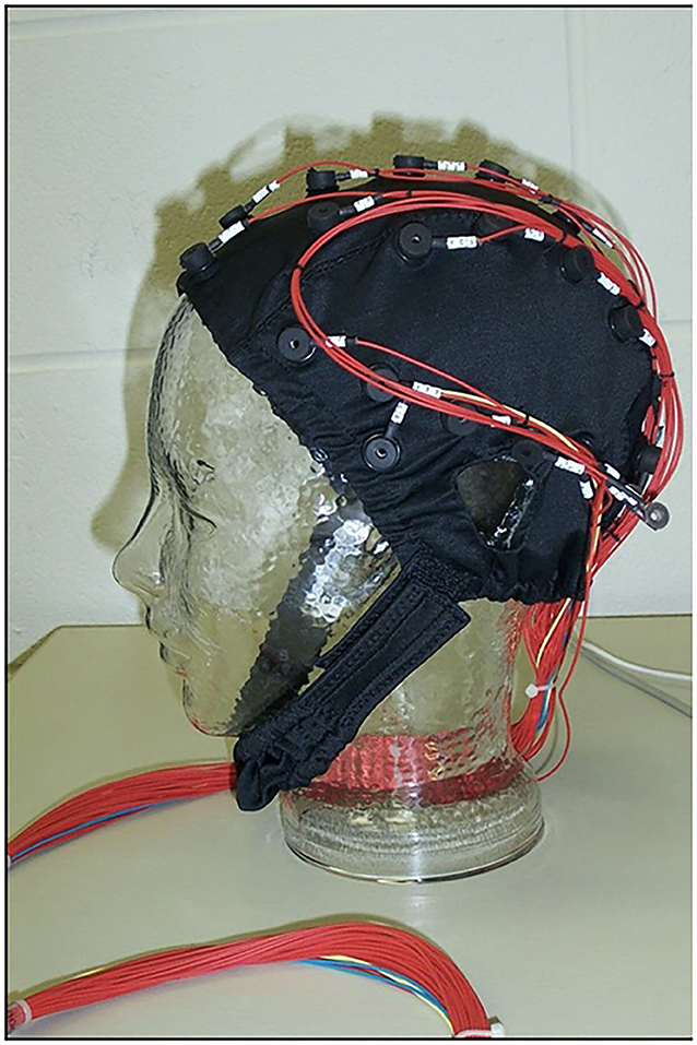 Figure 1 - A cap with electrodes, used for measuring the electrical activity happening in the brain.