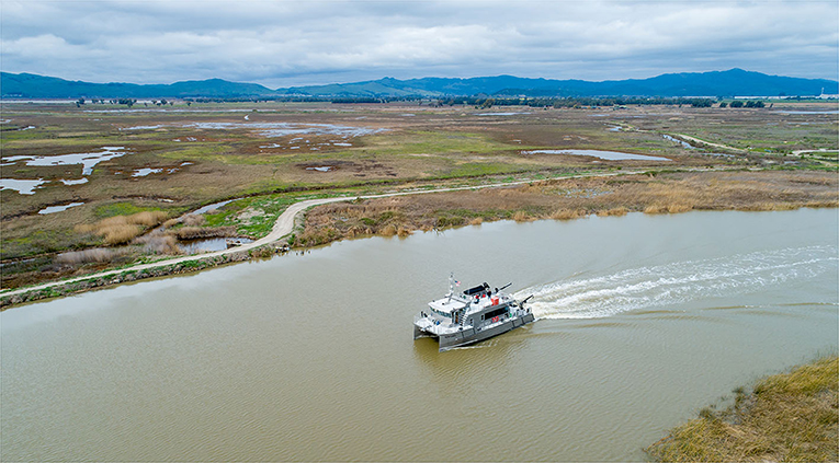 Figure 2 - A research boat navigating the waterways of the San Francisco Estuary.