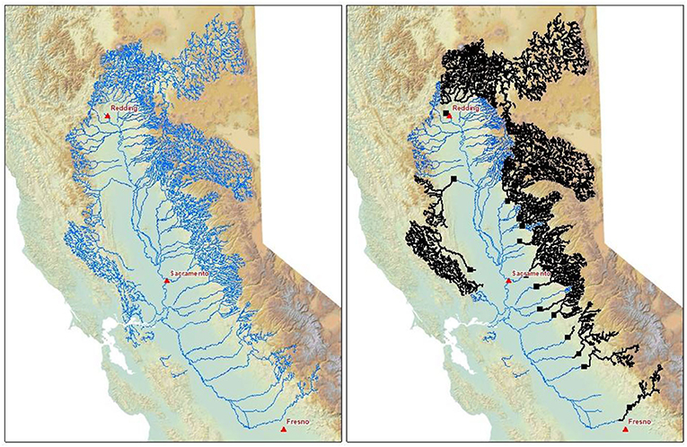 Figure 3 - The blue lines represent the habitat that was previously available to salmonids in the California Central Valley.