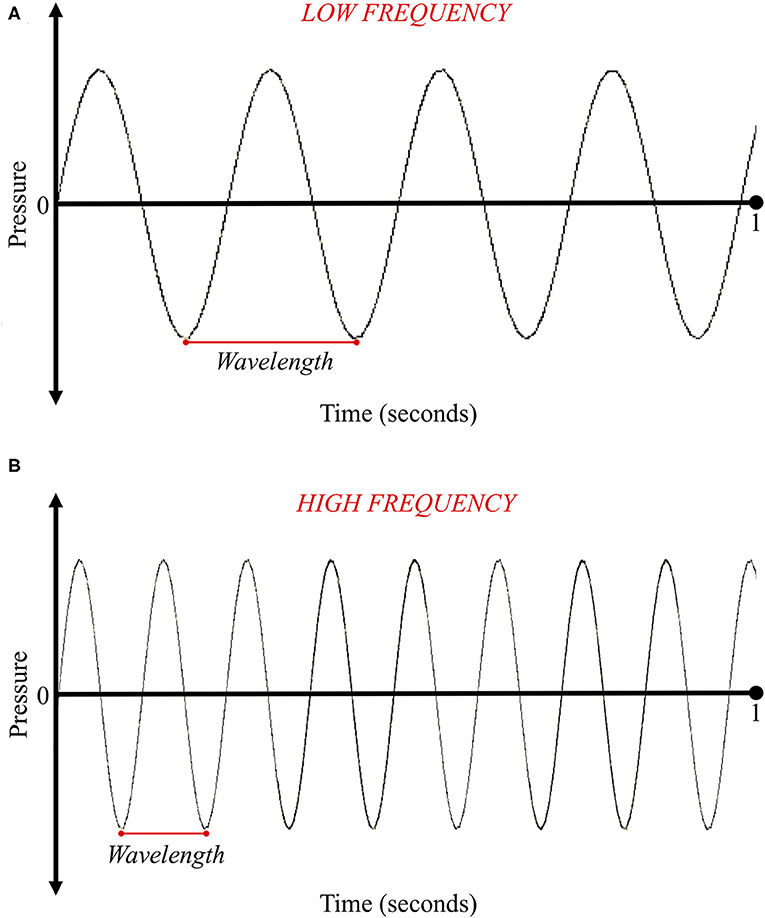 Figure 2 - (A) This sound wave has a long wavelength.