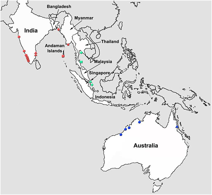 Frontiers Barcoding Of Asian Seabass Across Its Geographic Range - West pacific islands map 1998